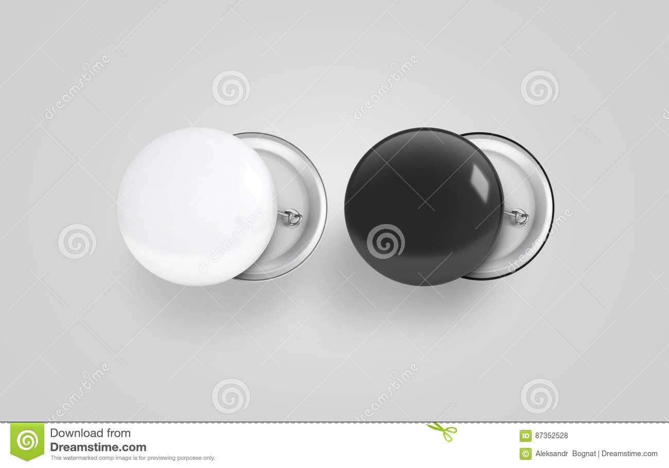 Blank Black And White Button Badge Mockup Set, Stock Illustration