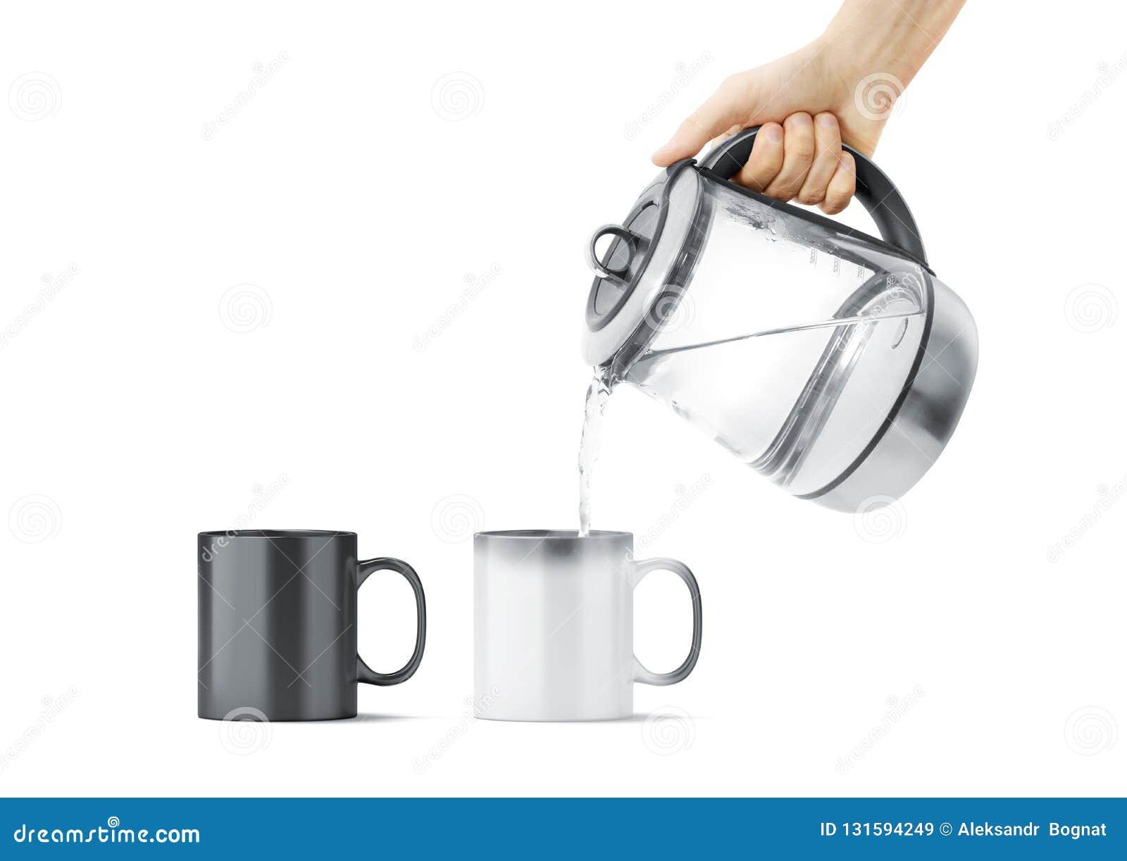 Blank Black And White Magic Mug With Hot Teapot Mockup Stock Image