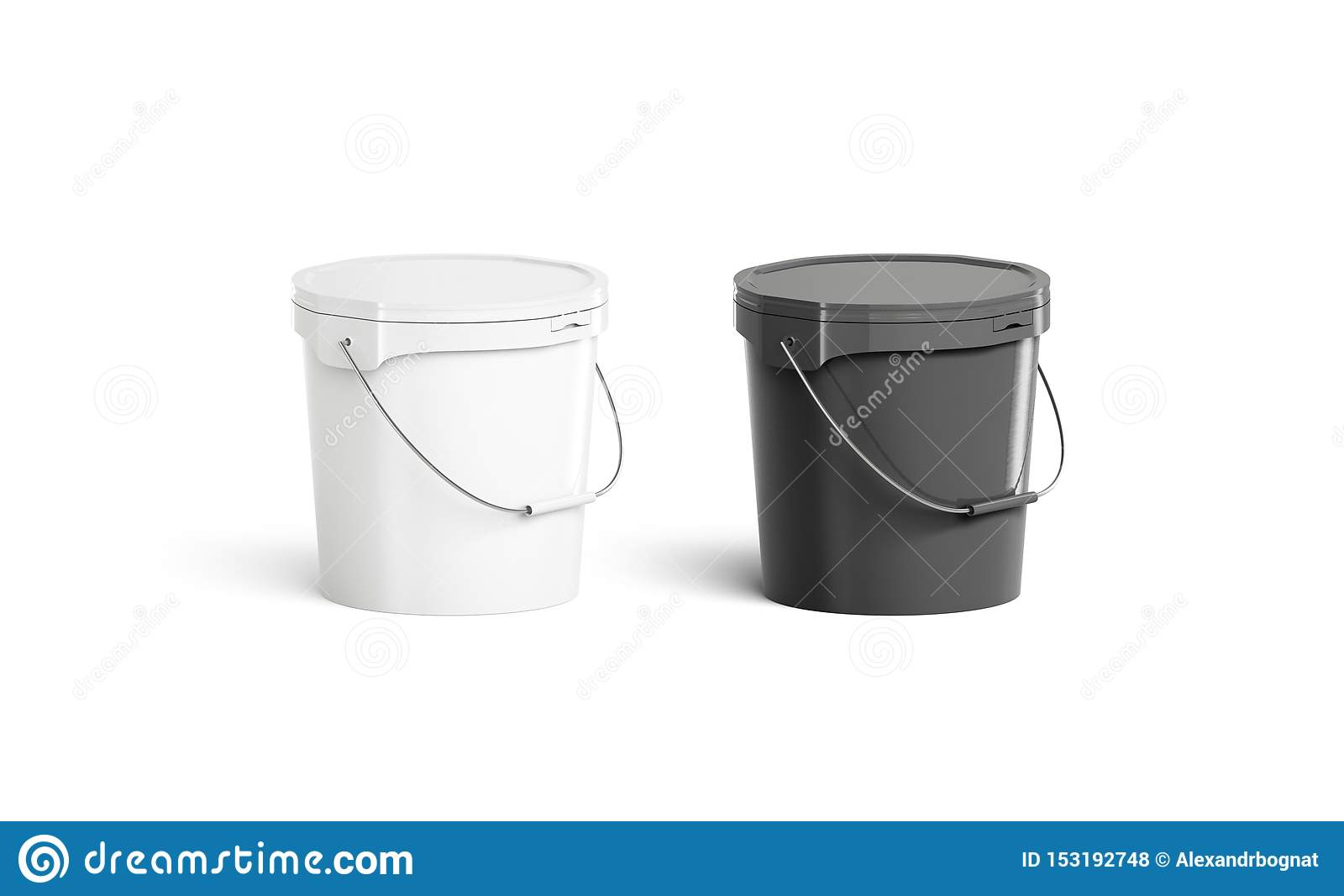 Blank Black And White Paint Bucket With Handle Mock Up Stock Illustration Illustration Of Pail Plain 153192748