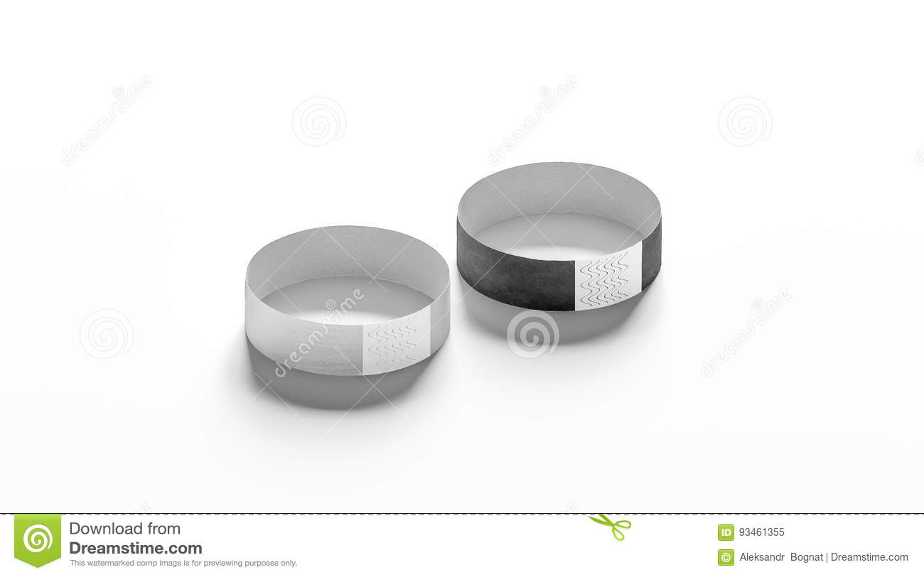 blank black and white paper wristband mockup stock image image 93461355. Black Bedroom Furniture Sets. Home Design Ideas