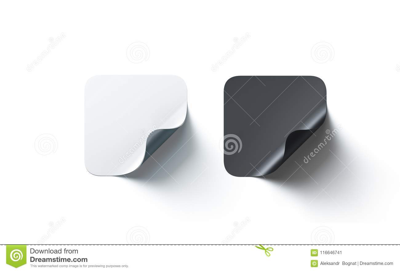 Blank Black And White Square Adhesive Stickers Mockup Curved Corner Stock Illustration