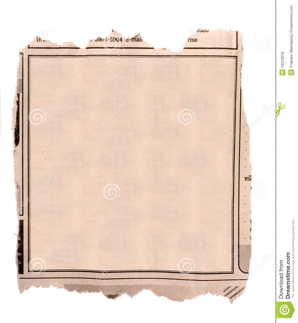 Blank Block Of Old Newspaper Advertise Stock Image