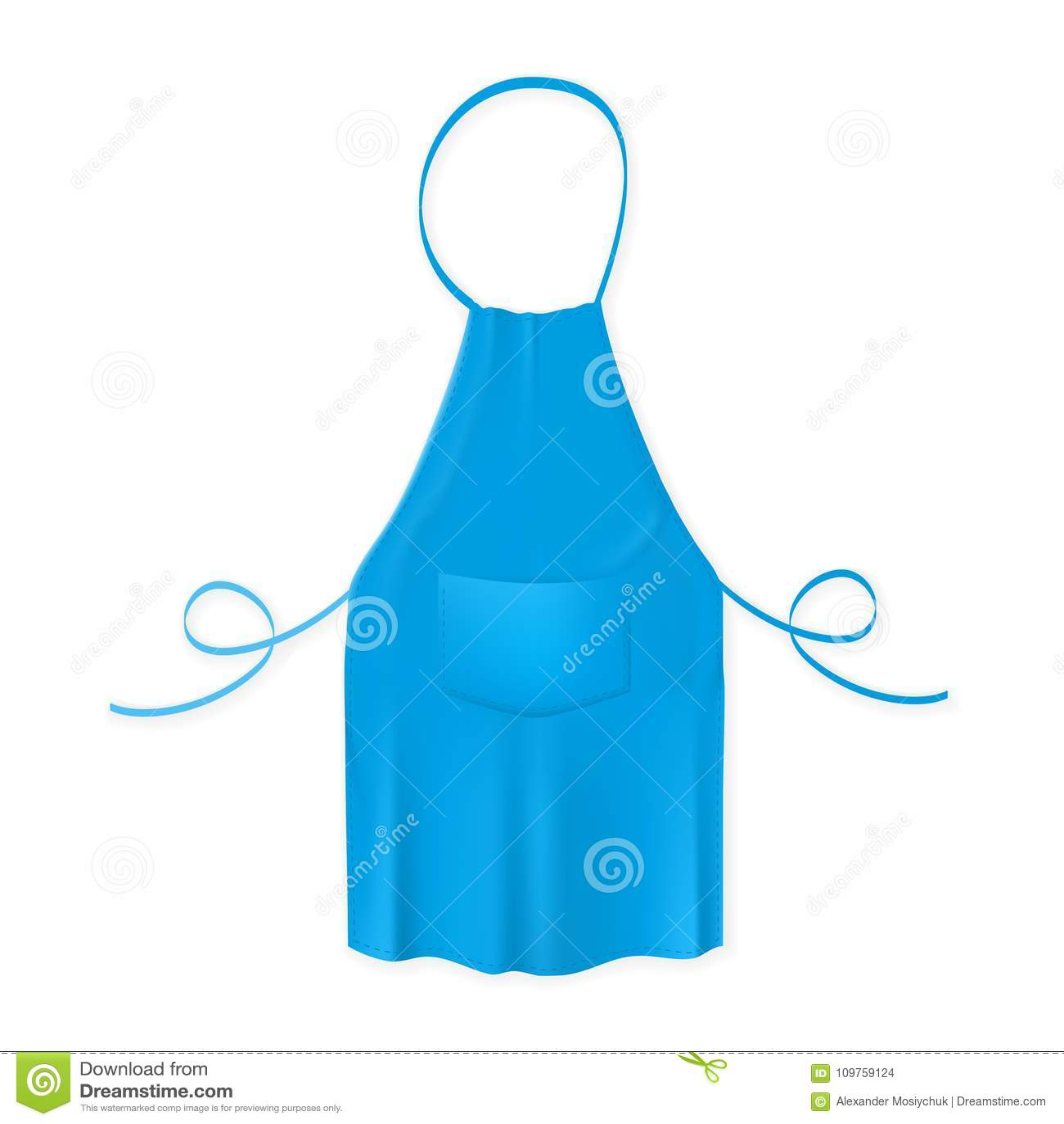 Blank Blue Kitchen Apron. Protective Garment. Stock Vector ...