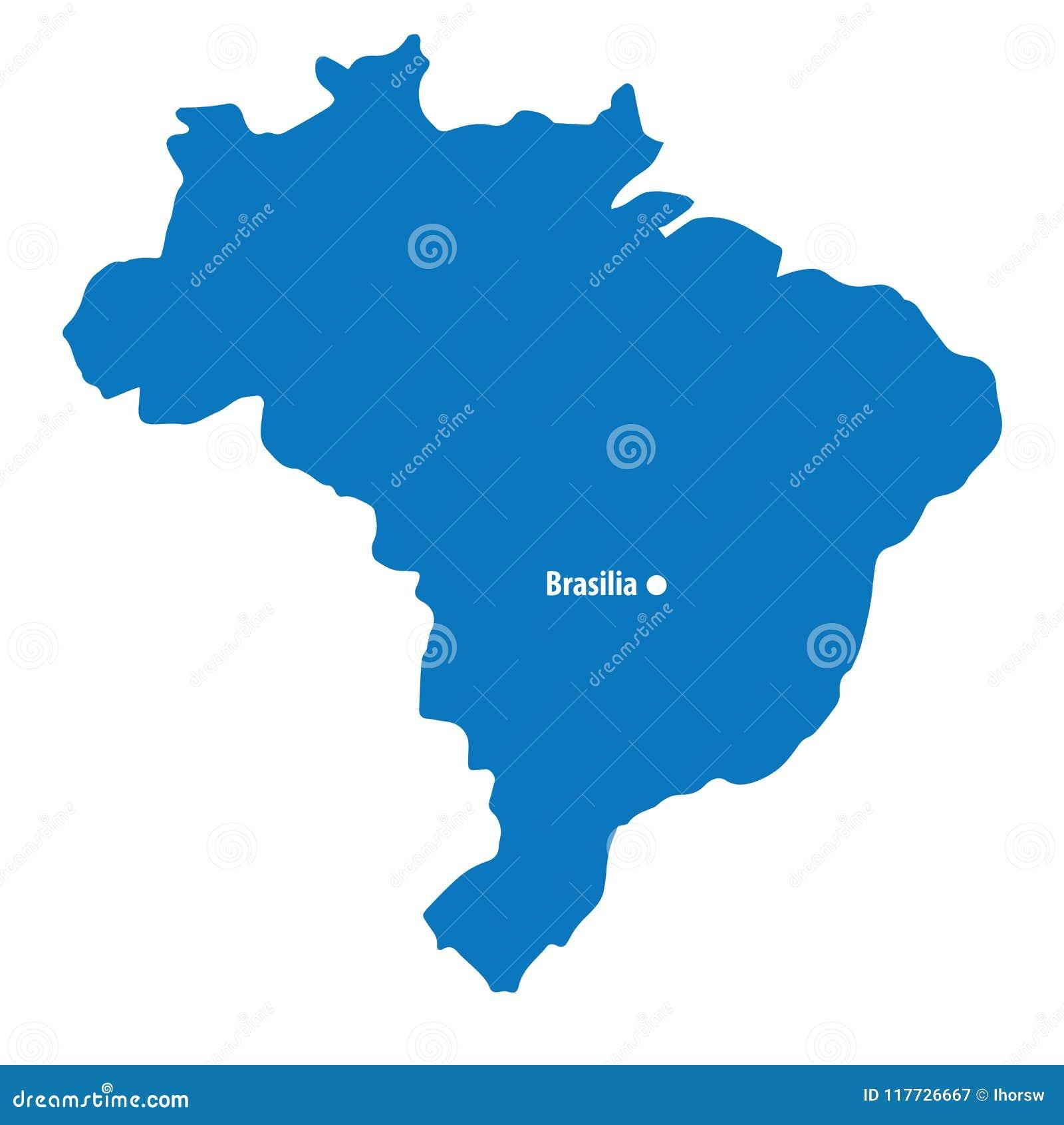 Image of: Blank Blue Similar Brazil Map With Capital City Brasilia Isolated On White Background South America Stock Vector Illustration Of Brazil Border 117726667