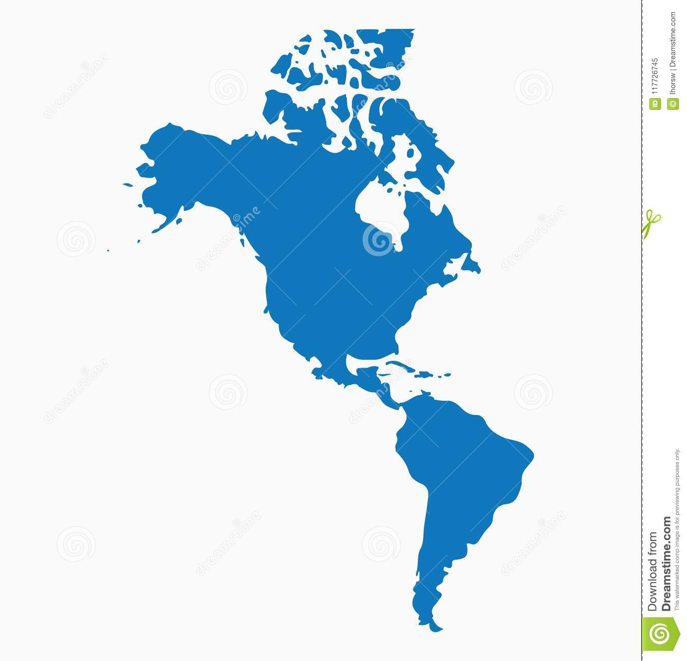 Blank Blue Similar North And South America Map Isolated On White