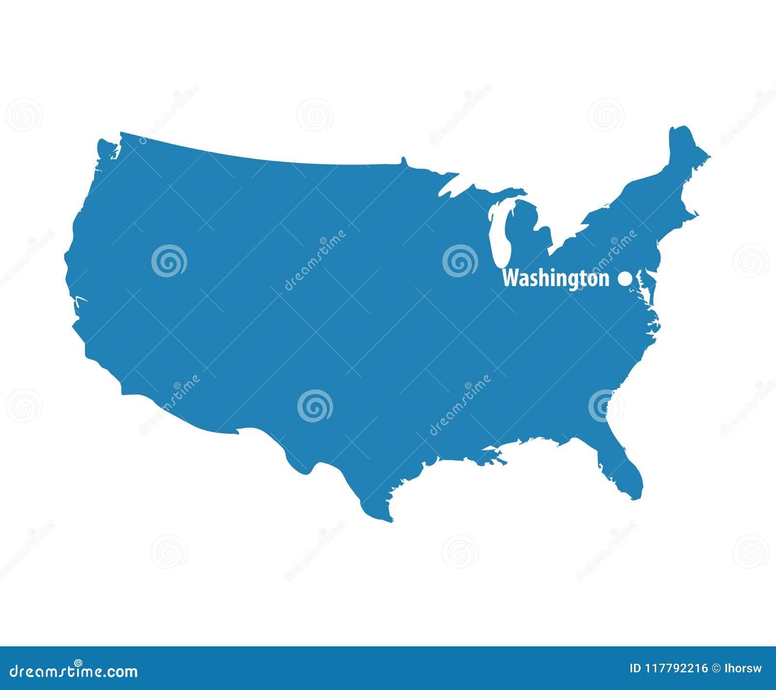 United States Map Dc.Blank Blue Similar Usa Map With Dc Washington Isolated On White