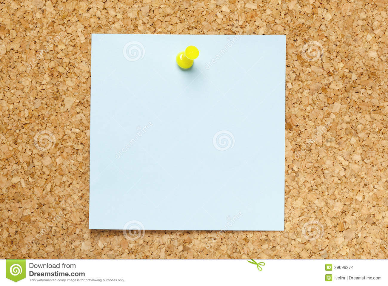 Blank Blue Sticky Note Stock Photo Image Of Push