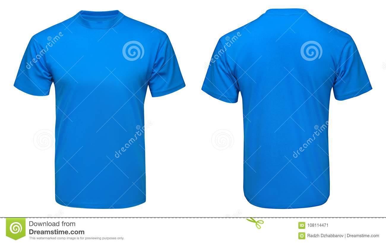 c4b5c5094 Blank blue t-shirt mock up template, front and back view, isolated on white  background
