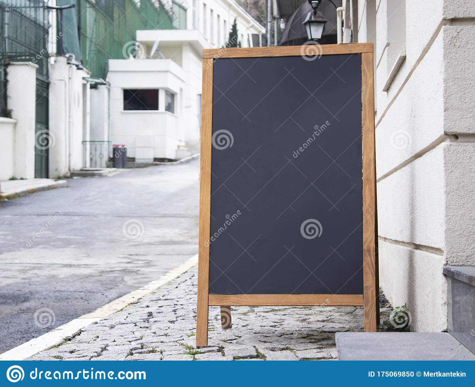 Blank Board Stand Mock Up White Signage Outdoor Restaurant Menu Template Stock Photo Image Of Caucasian Marketing 175069850