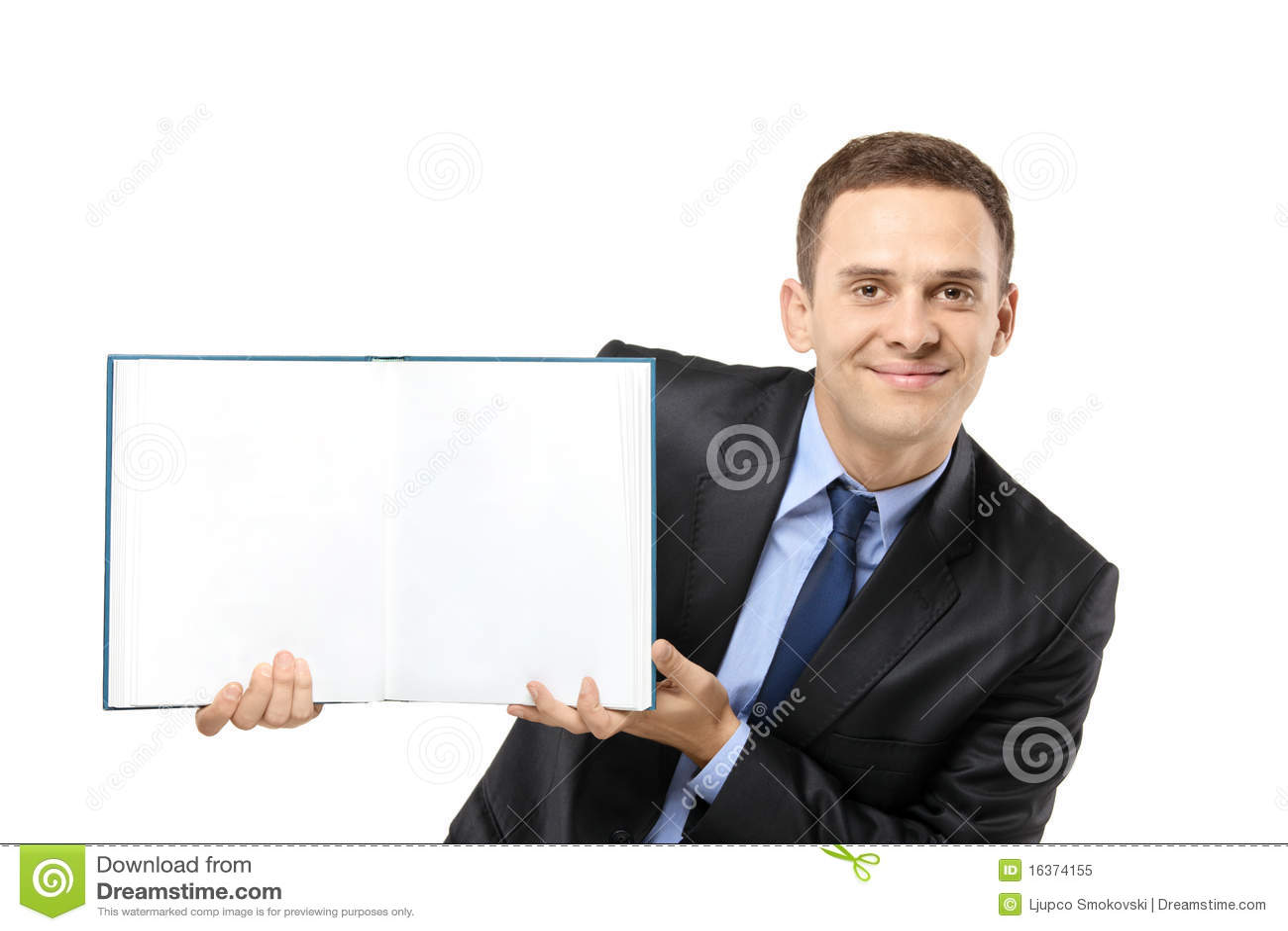 Blank bokaffärsman som visar white