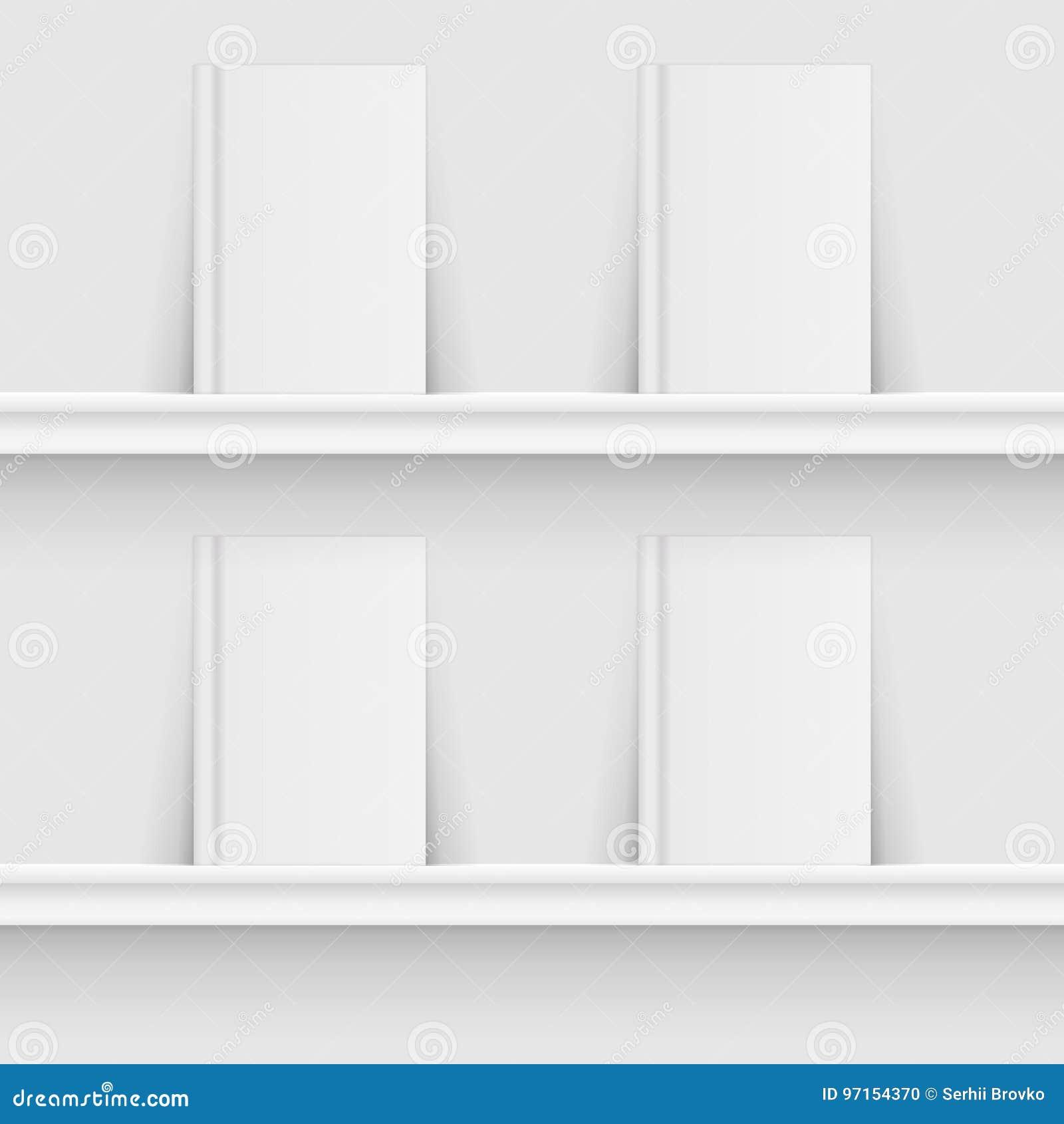 Blank book on book shelf. Hardcover Book Mock-Up grey background. Vector illustration.