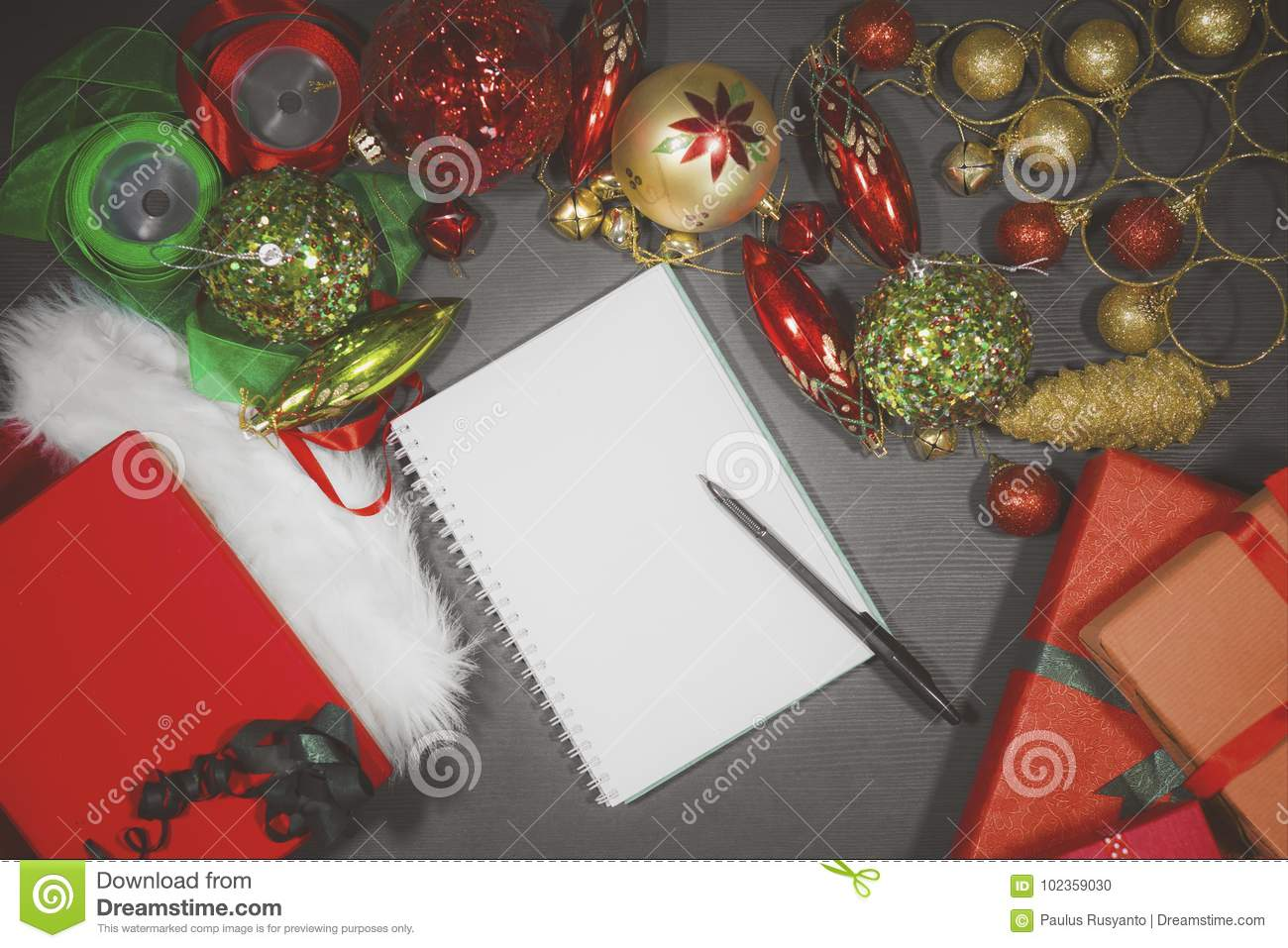 download blank book with christmas ornaments stock photo image of empty carpet 102359030