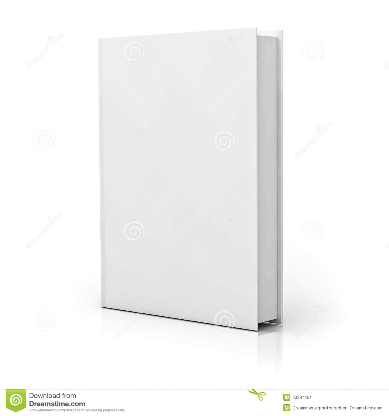 Book Cover White Background ~ Blank book cover with reflection stock image
