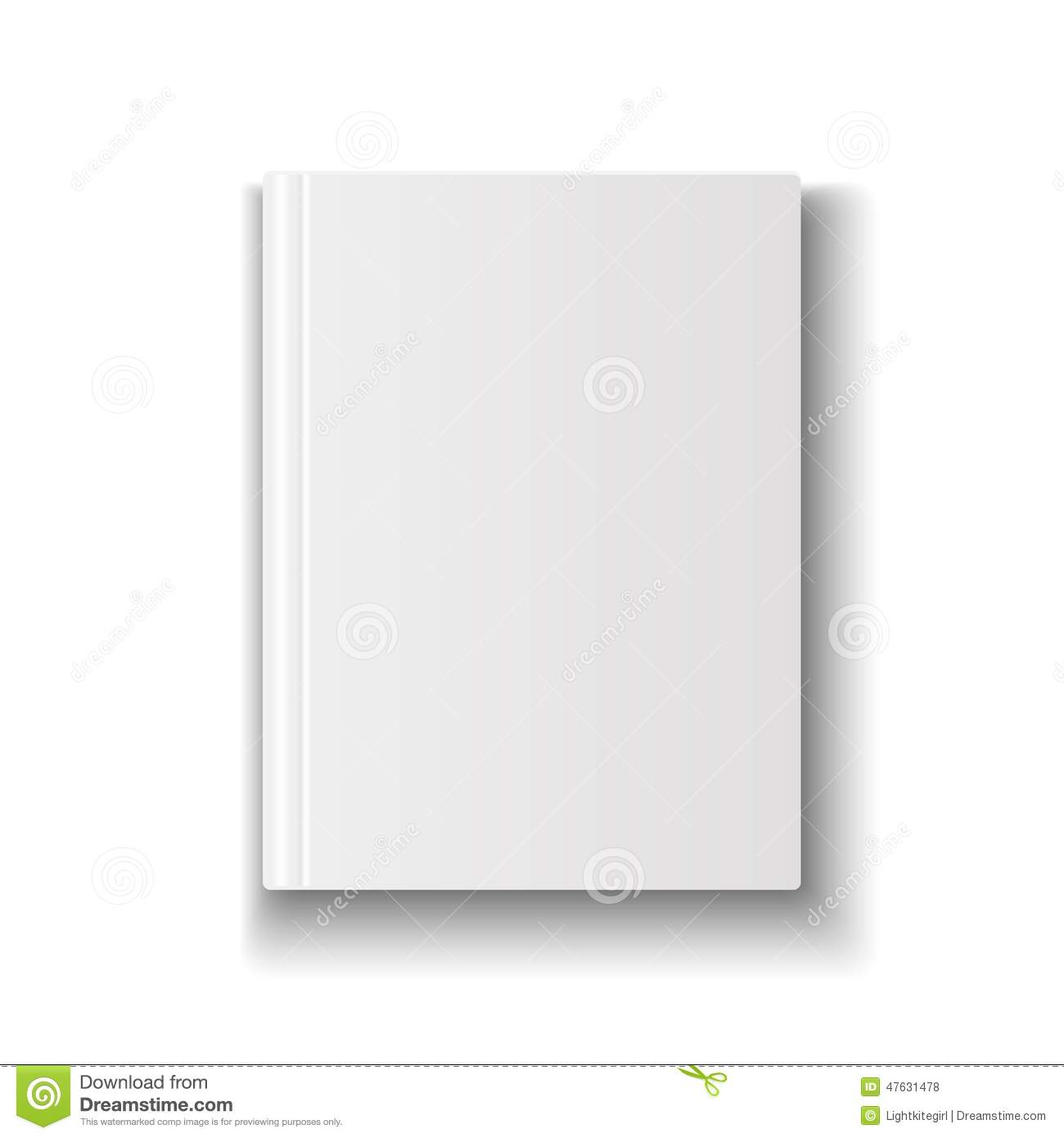Book Cover White Background : Blank book cover template on white background with stock