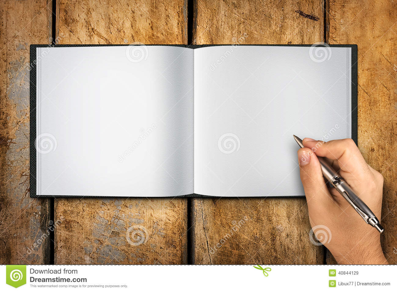 Blank Book Open Hand Writing Pen