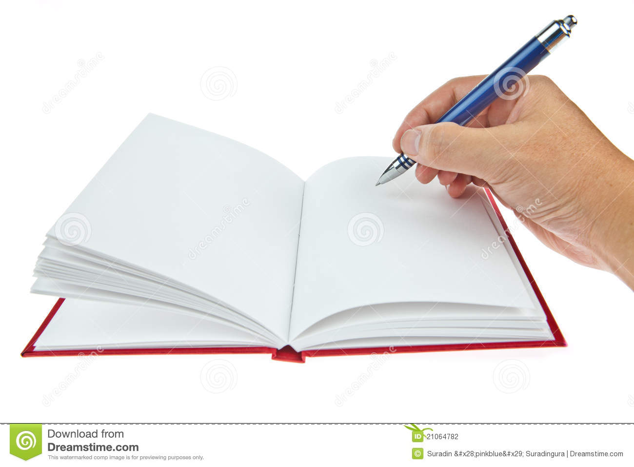 Blank Book With Pen And Hand Stock Photography - Image: 21064782