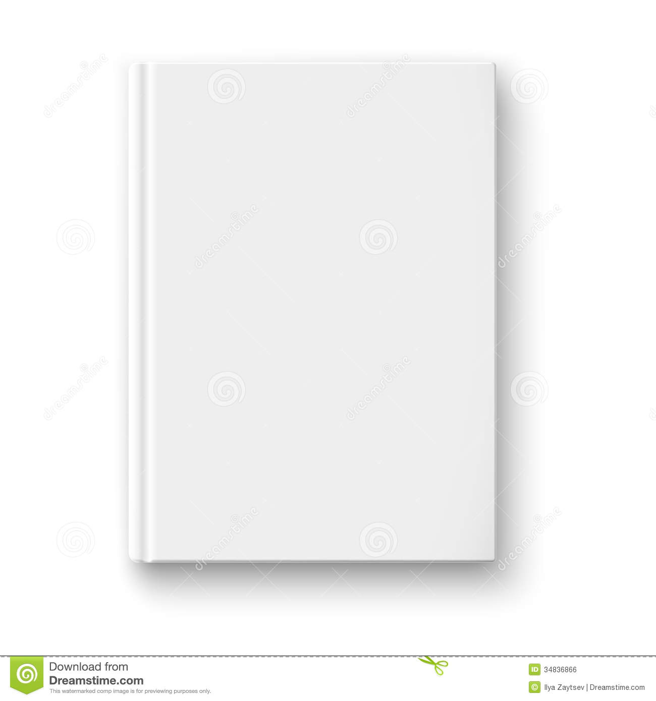 Book Cover White Background ~ Blank book template with soft shadows royalty free stock