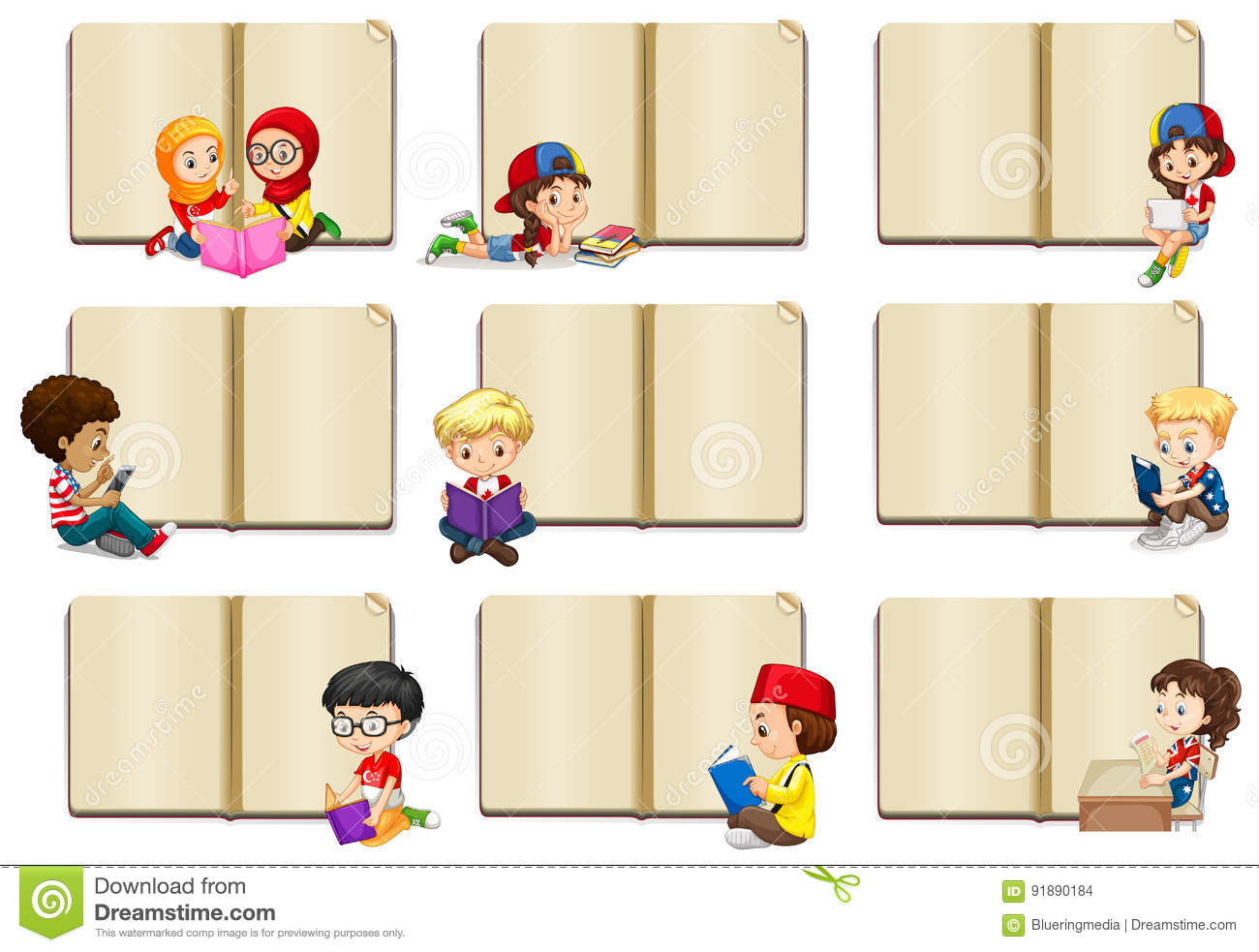 Blank Book Templates With Kids Stock Vector Illustration Of Blank