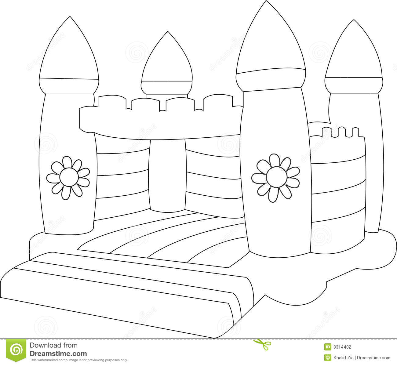 Bouncy House Coloring Page - Handipoints | Coloring Page Bounce House  | title