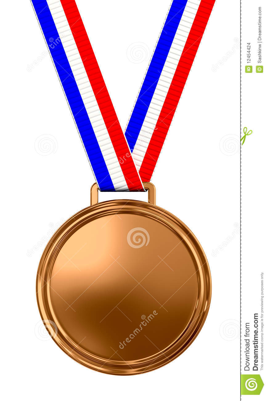 Blank bronze medal with tricolor ribbon - 3d render.