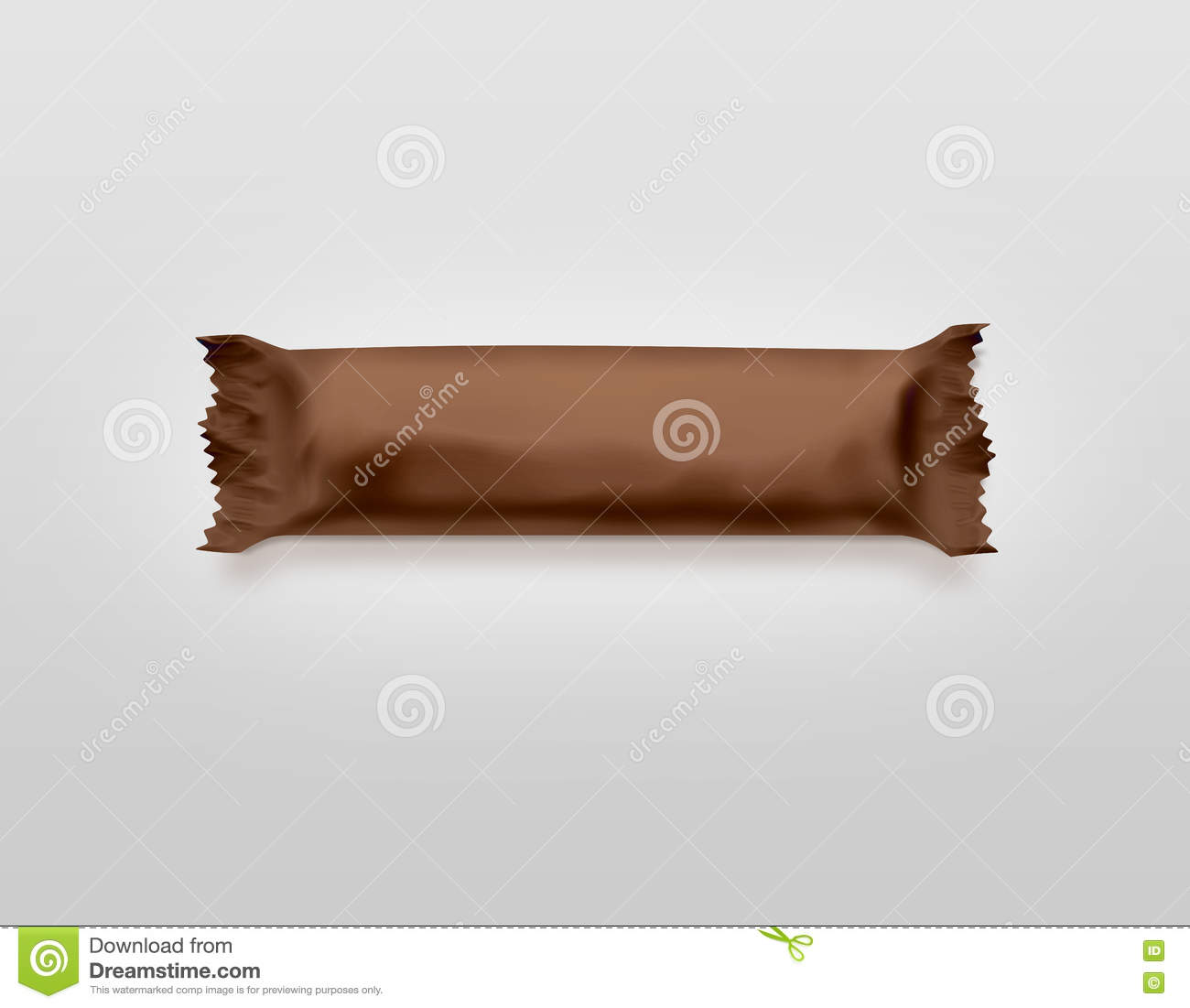Blank Brown Candy Bar Plastic Wrap Mockup Isolated Stock Image