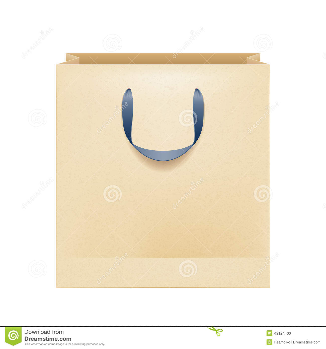 Blank Brown Paper Bag With Black Handles Stock Vector