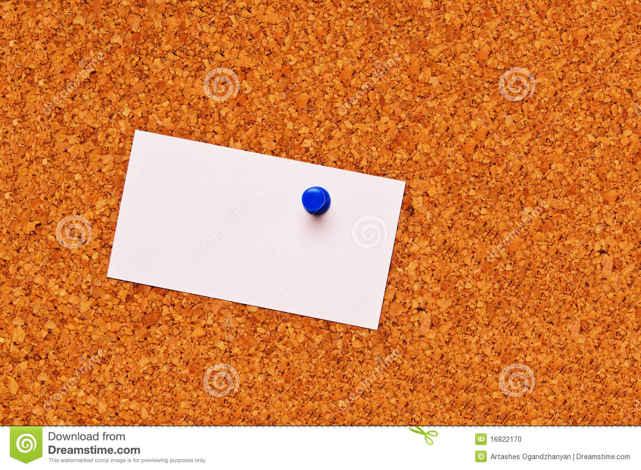 A Blank Business Card On A Cork Board Stock Photo - Image of message ...