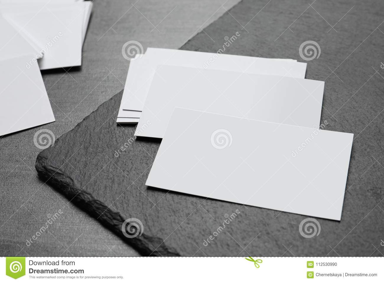 Blank Business Cards With Slate Plate Stock Photo - Image of nobody ...