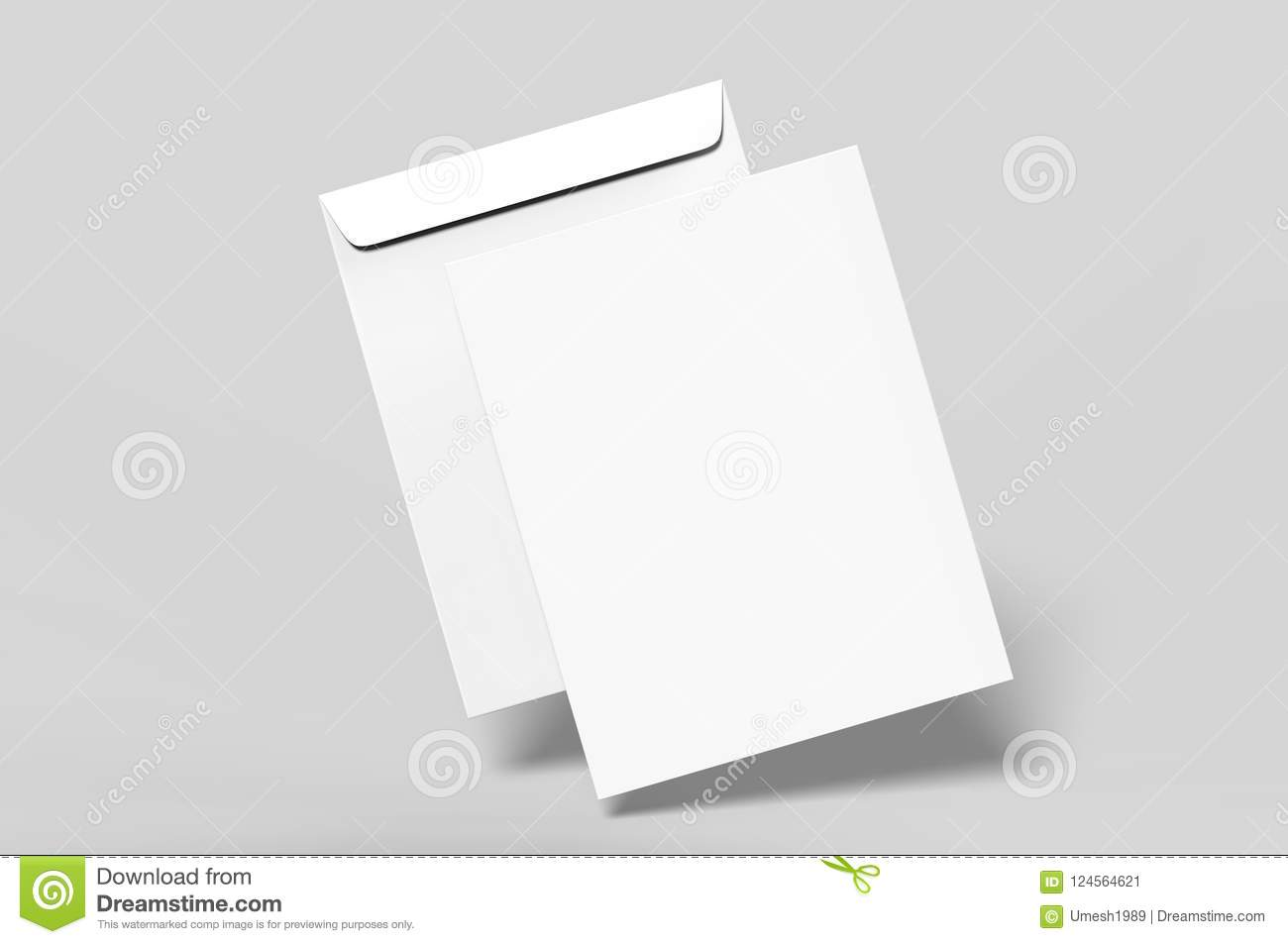 blank c4 envelope mock up blank template 3d render illustration