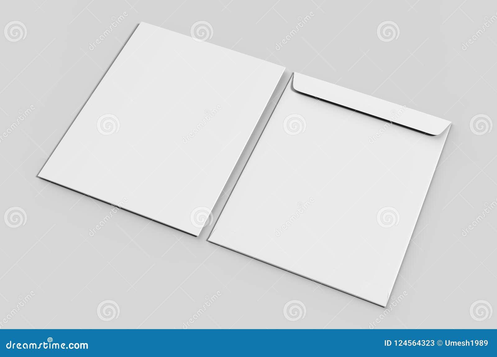 blank c4 envelope mock up blank template 3d render illustration