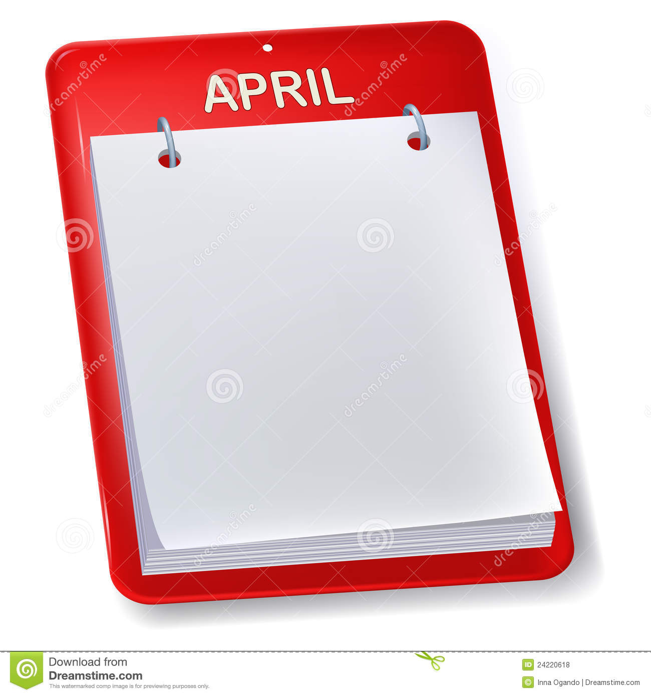 Xs Calendar April : Blank calendar stock vector image of year book sheet