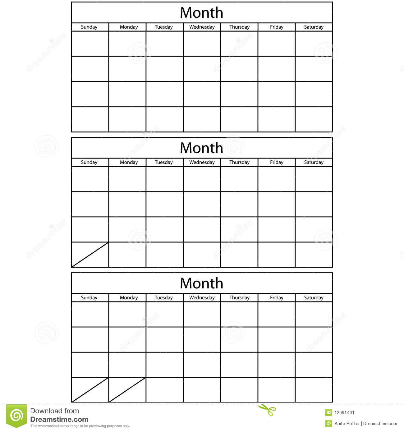 Blank Vector Calendar Template : Blank calendar templates stock vector illustration of