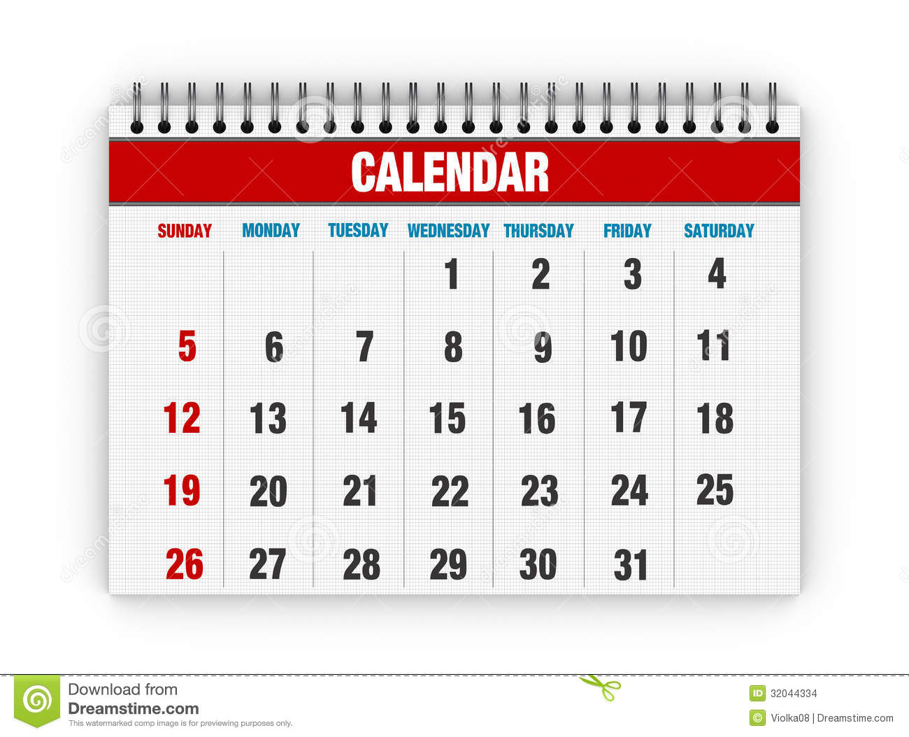 Calendar Days : Blank calendar stock illustration of office