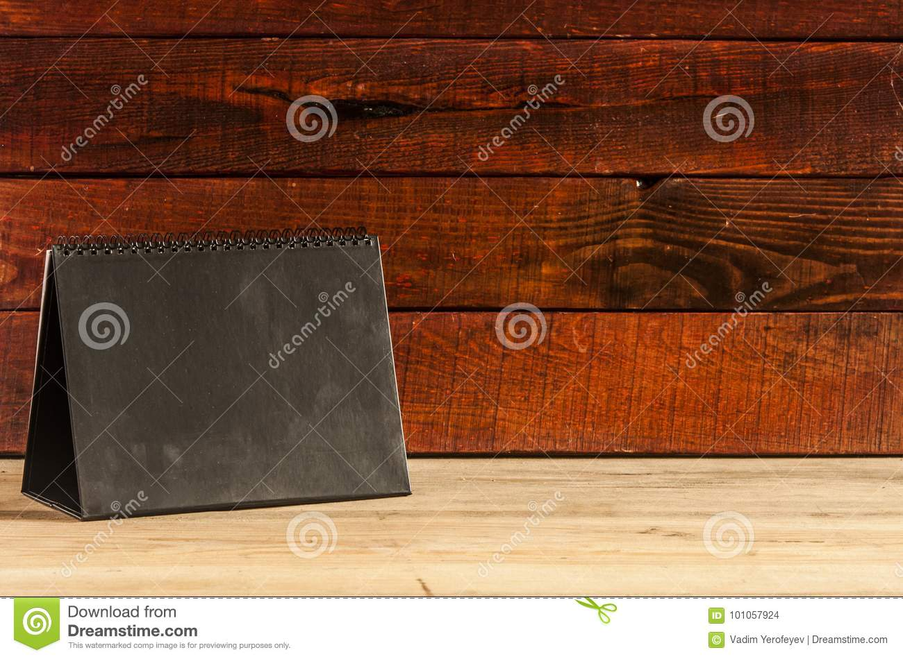 Blank Desk Calendar On Old Wooden Table Stock Photo Image Of Event