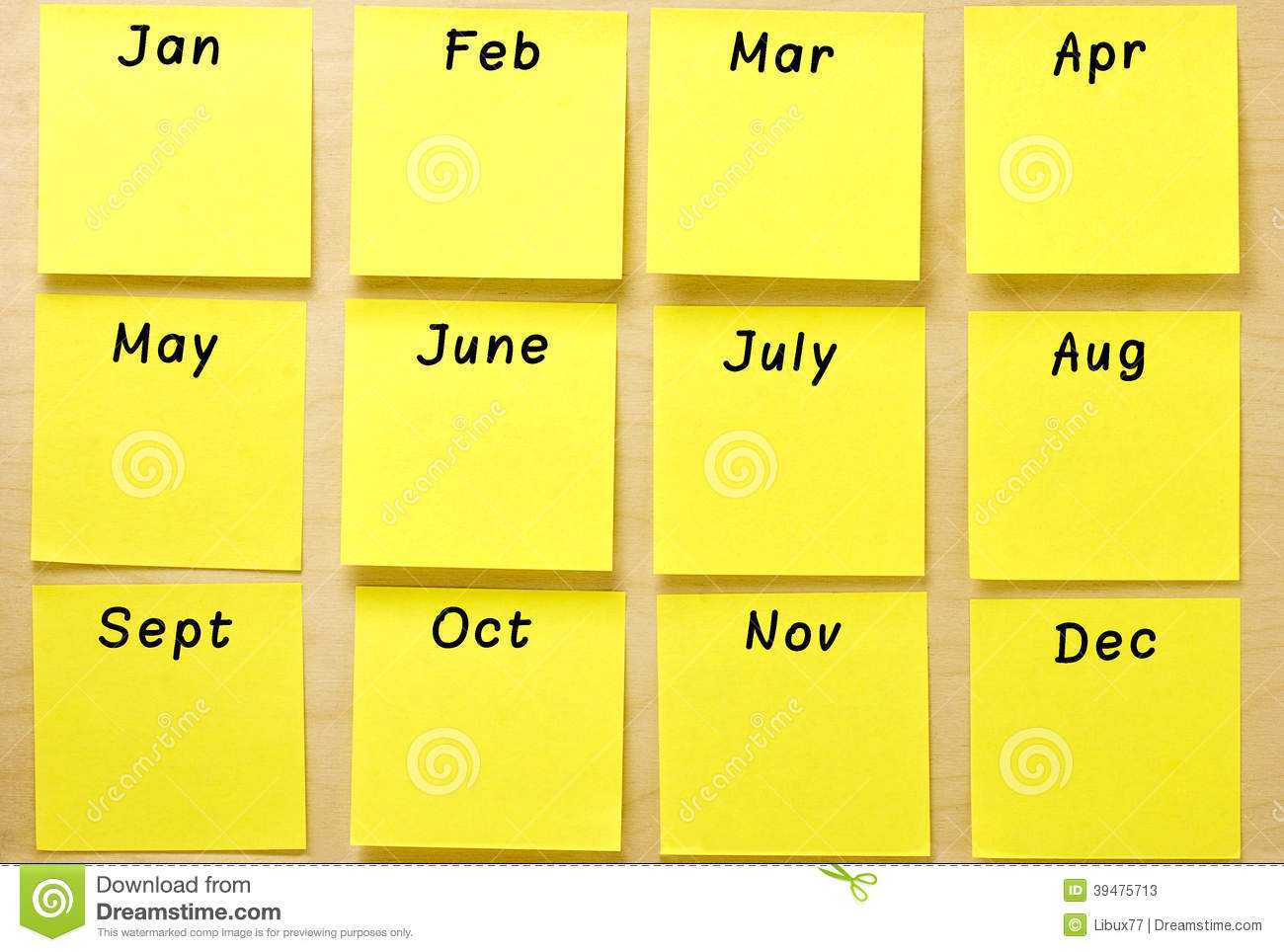 Blank calendar of well-ordered square yellow post-it notes affixed on ...
