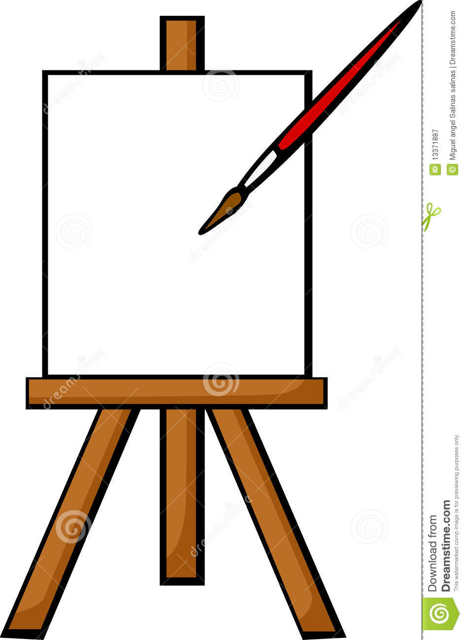 ... illustration of a blank canvas in an easel with a painting brush