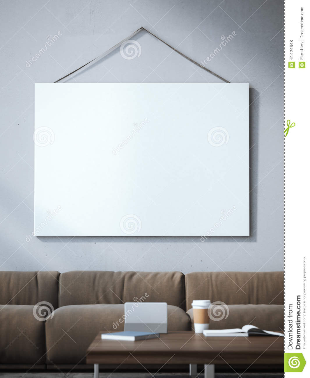 blank canvas in interior with sofa 3d rendering stock photo image