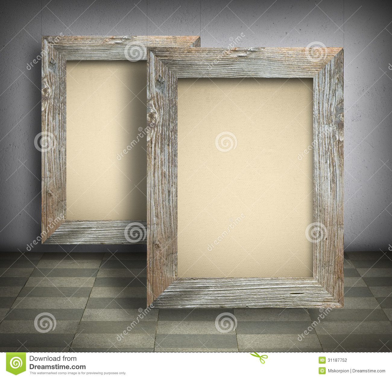 Blank Canvas In Old Wooden Frames Stock Photo Image Of