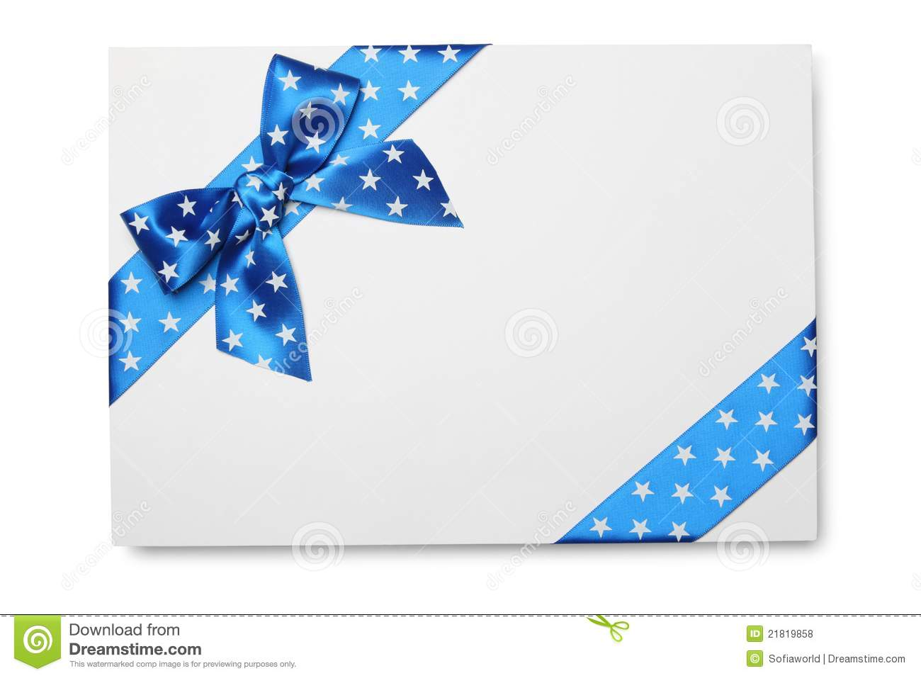 Blank Card With Blue Ribbon Bow