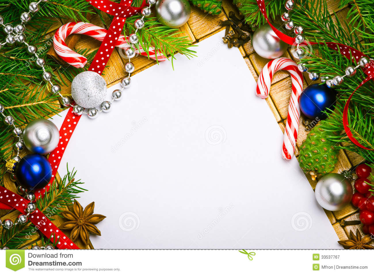 Blank Card For Christmas Greetings Royalty Free Stock Photography ...