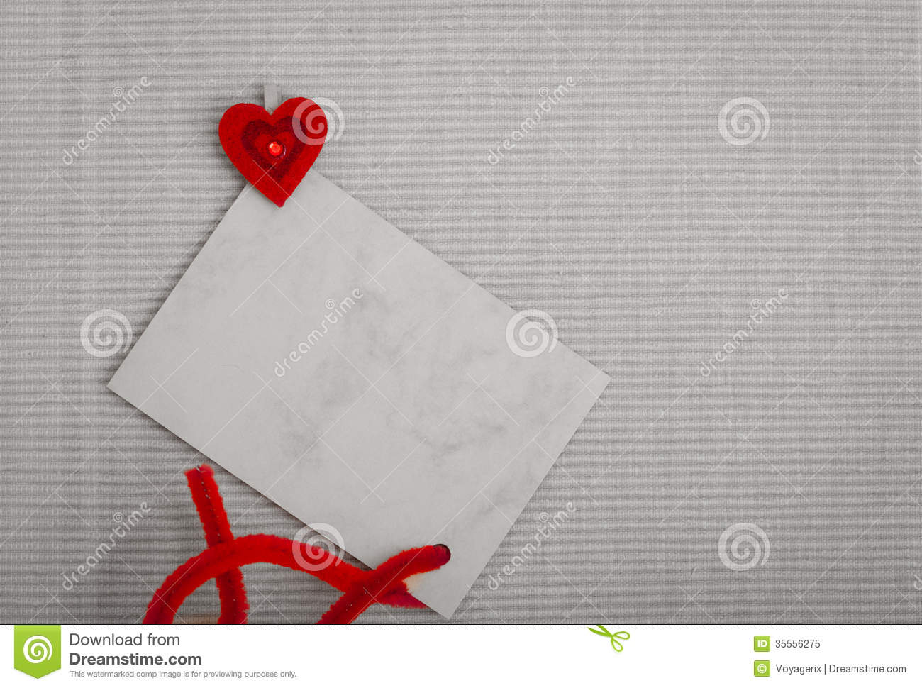 Blank Card Copy Space Text Message And Red Heart Symbol Love Stock