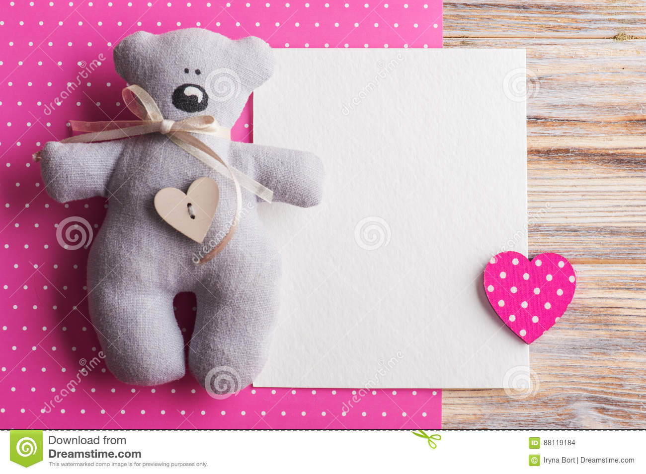 Blank Card On Pink Background With Teddy Bear Stock Photo - Image ...