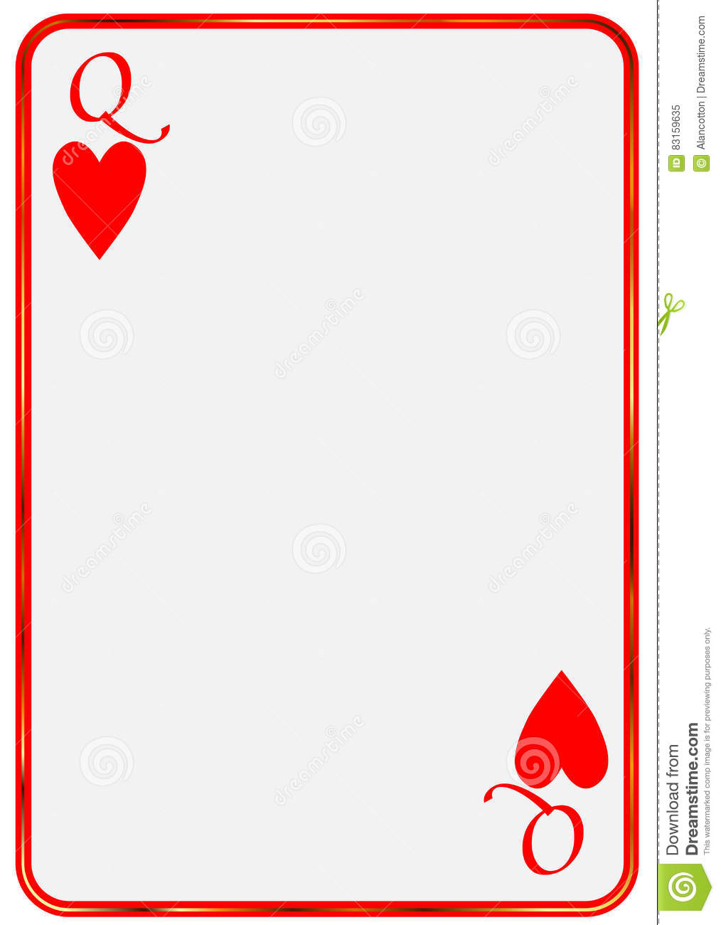 Blank Card Queen Hearts Stock Vector Illustration Of 83159635 Playing Template