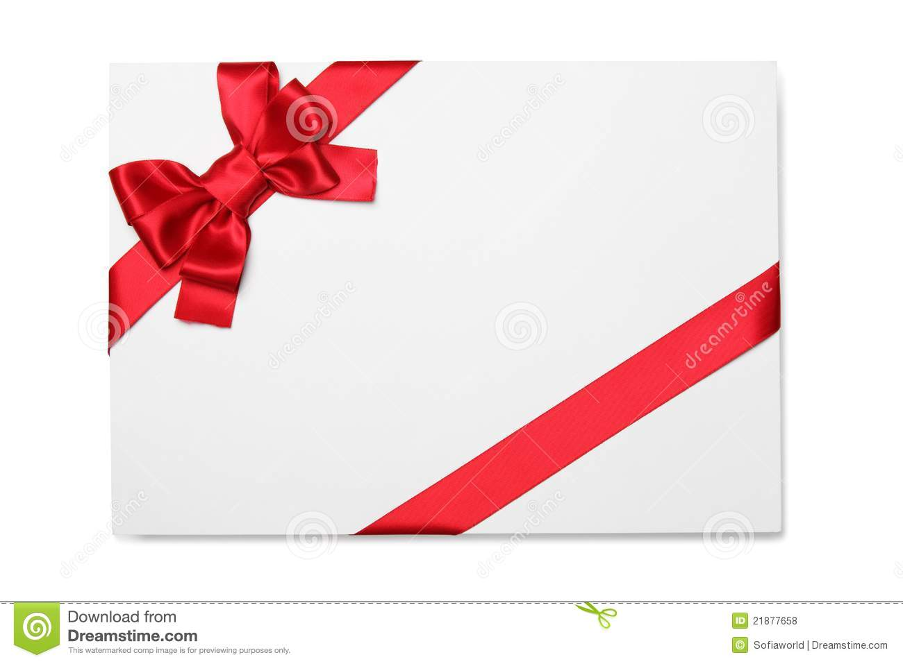 Blank Card With Red Ribbon Bow Stock Photo Image Of