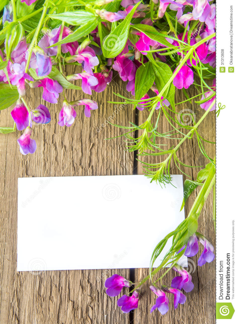 Blank Card And Spring Flowers Stock Photo - Image: 31313608