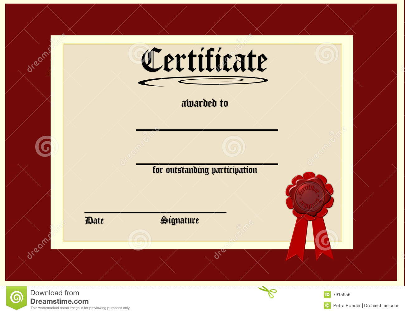 Blank Certificate Royalty Free Stock Image - Image: 7915956