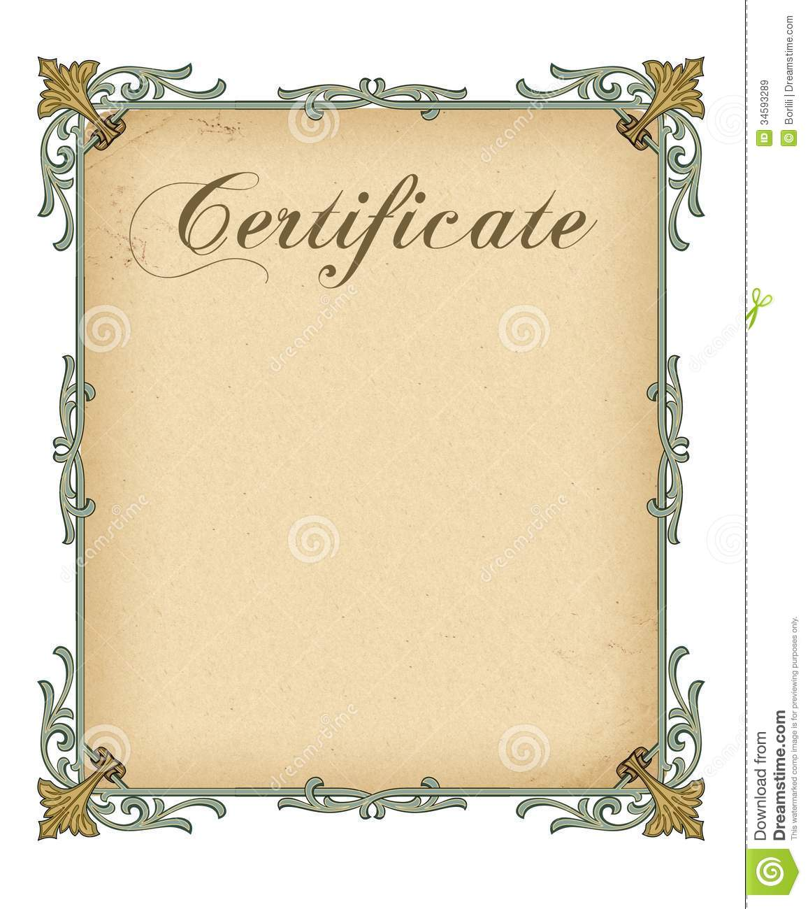 blank certificate template stock illustration illustration of
