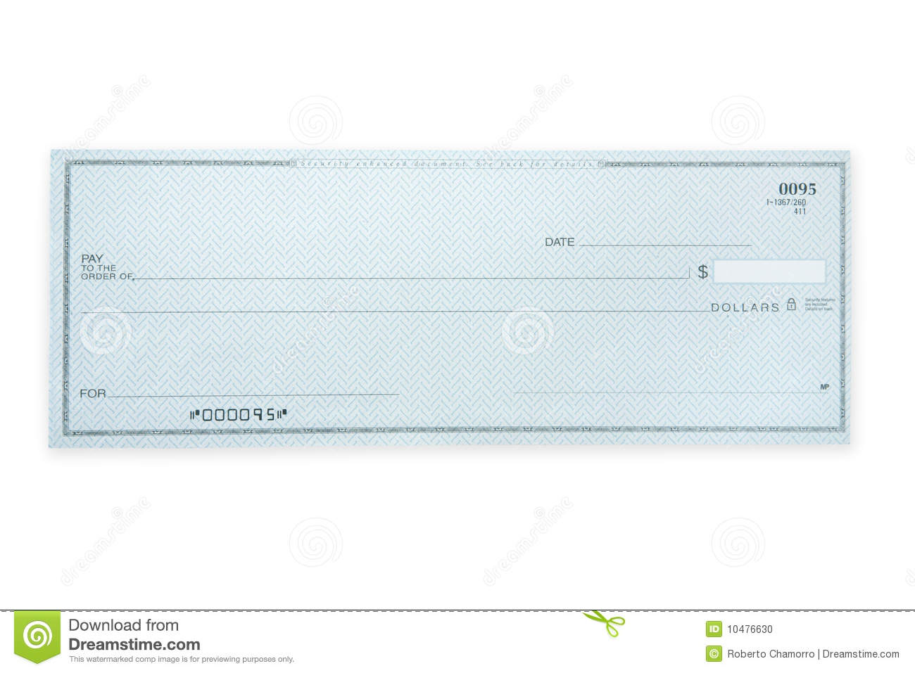 Blank Check Stock Photo Image 10476630