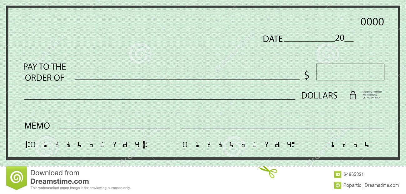 Blank Check With False Numbers Stock Illustration
