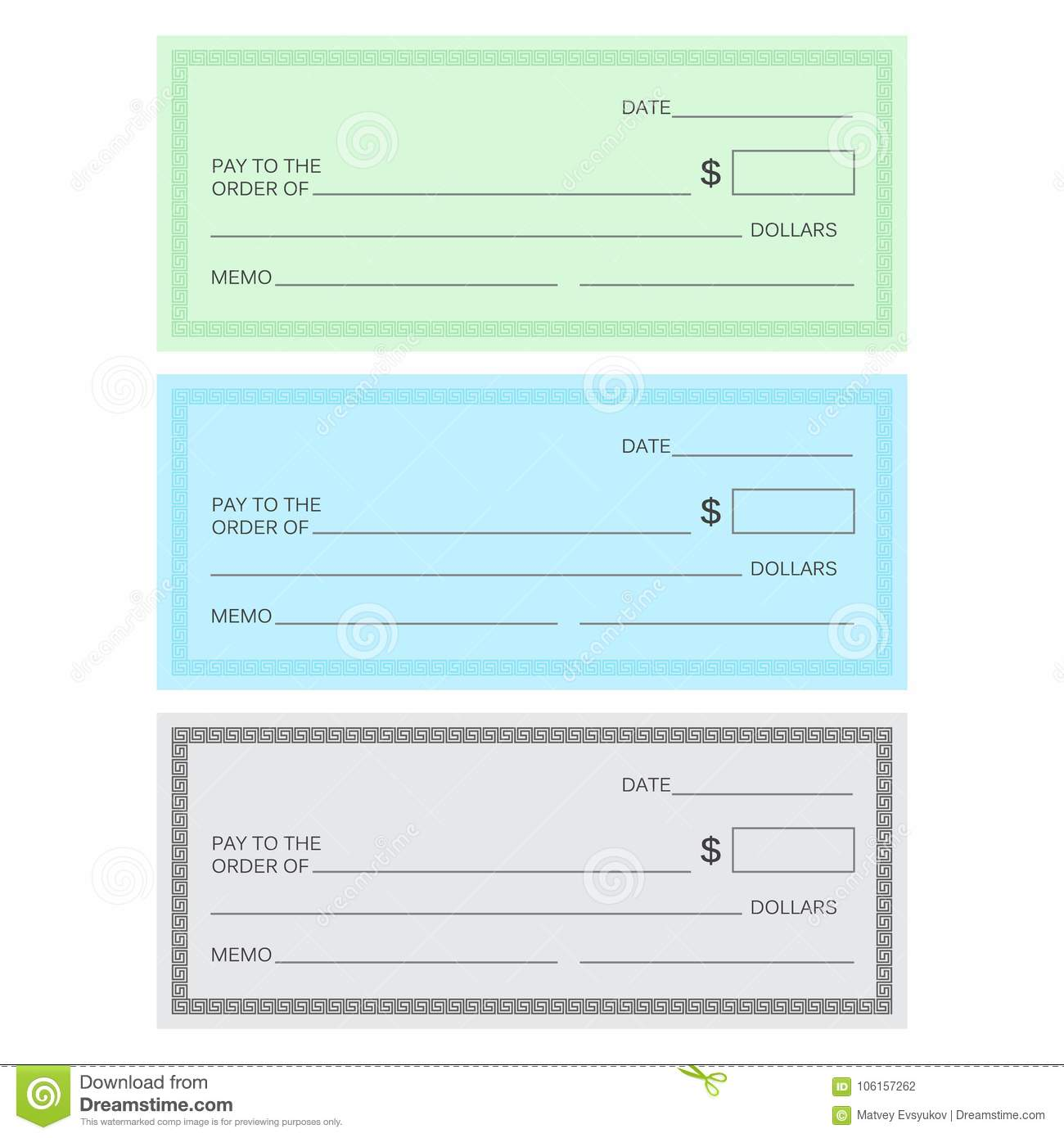 Blank Check Template Check Template Banking Check Templ Stock